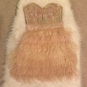 BEBE nude/light pink feather dress with gold studs